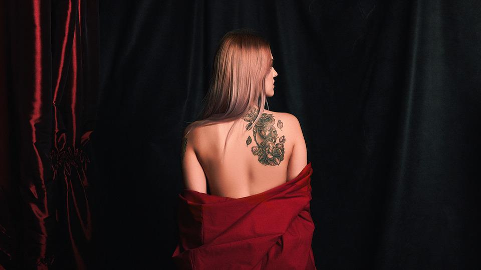 Fashion, Darkness, Tattoo, Girl, Model, Candle, Red