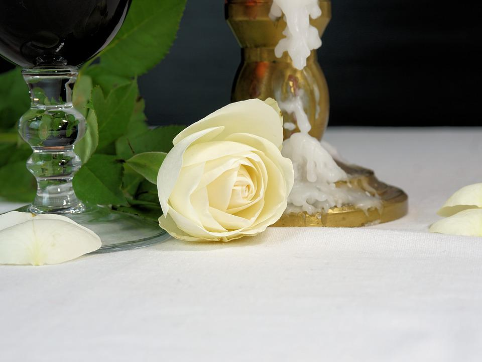 Romantic, Rose, Candle, Wine, Glass, Love, Flower