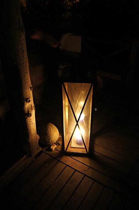 Old Lantern, Wood, Dark, Candle, Candlelight, Shine