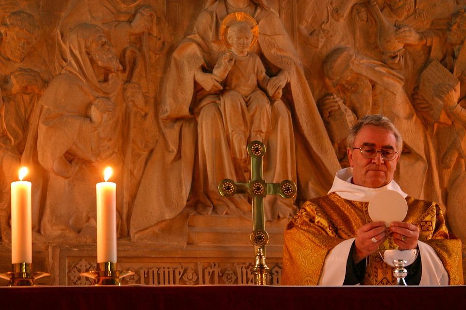 Communion, Church, Altar, Candles, Cross, Religion