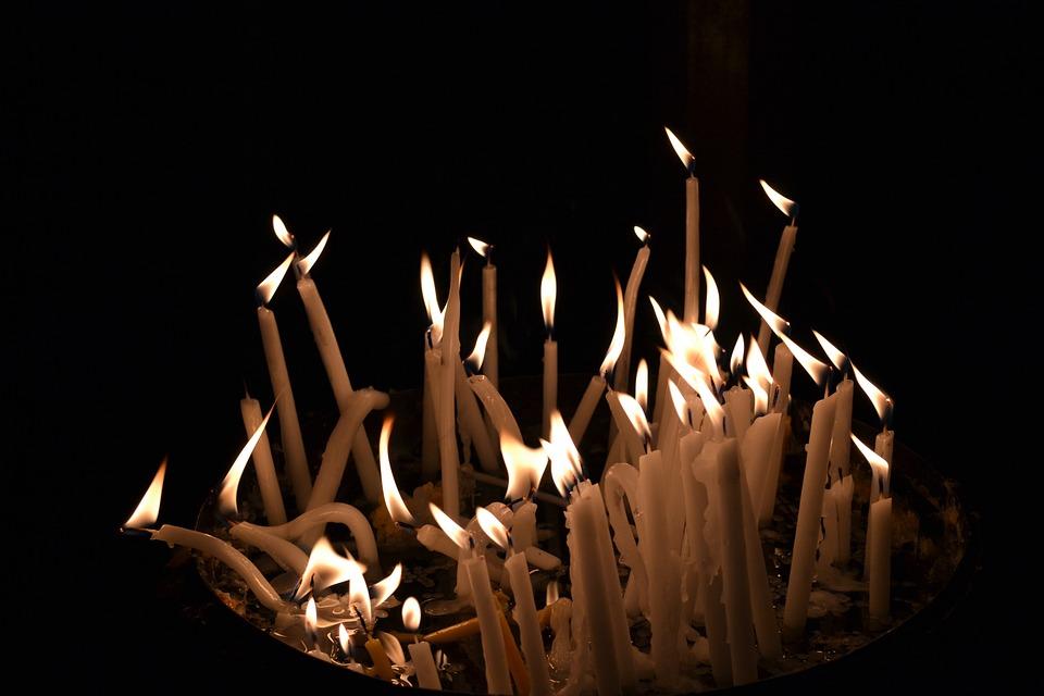 Candles, Dark, Black, Flame, Church