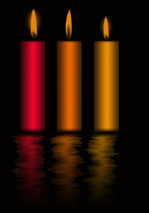 Candles, Background, Light, Flame, Red, Gold, Fire