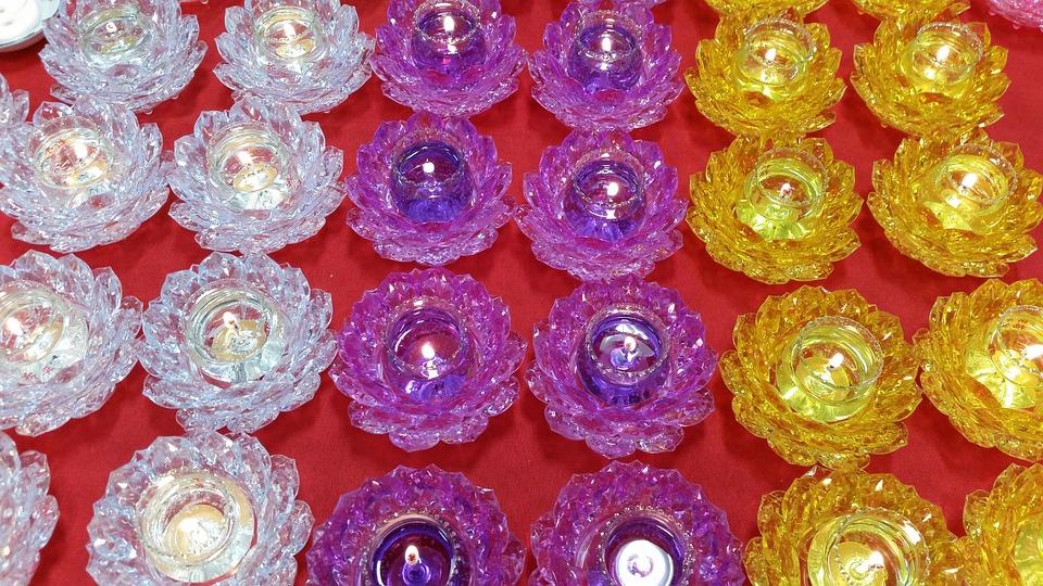 Candles, Lotus, Flower, Buddhism, Religious, Worship
