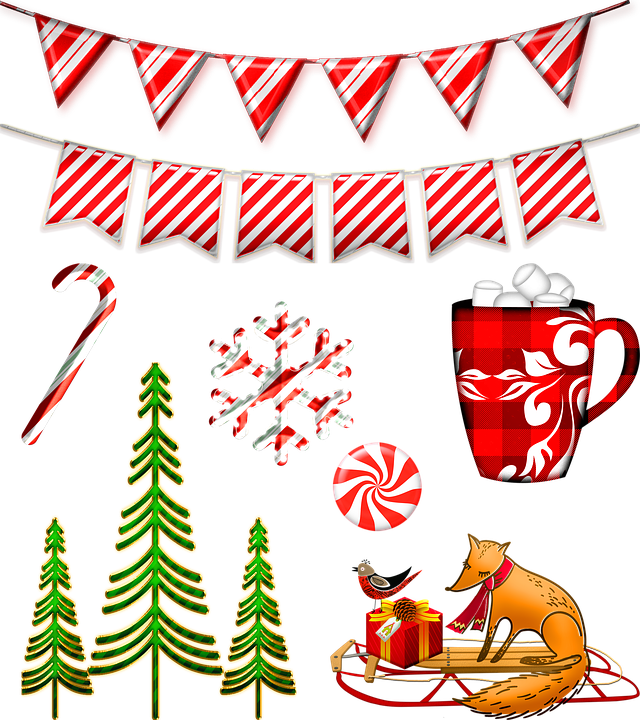 Candy Cane Bunting, Christmas Trees, Christmas Banner