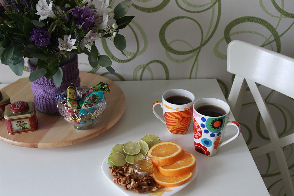 Candy, Tea Time, Orange, Table, Tea Cups, Morning