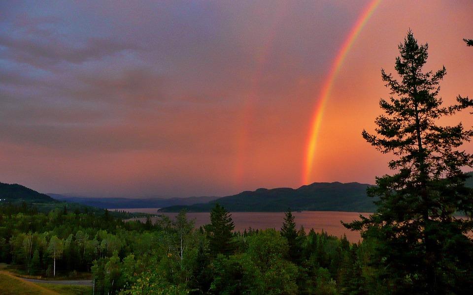 Red, Thunderstorm, Rainbow, Canim Lake