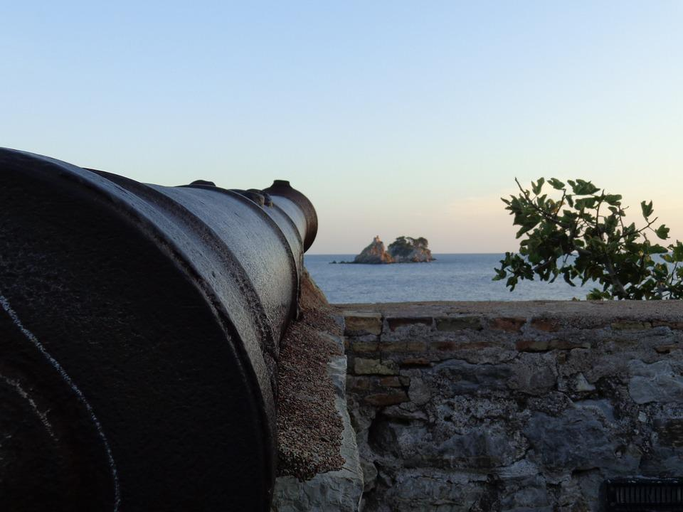 Cannon, Island, Beach, Sea, Montenegro