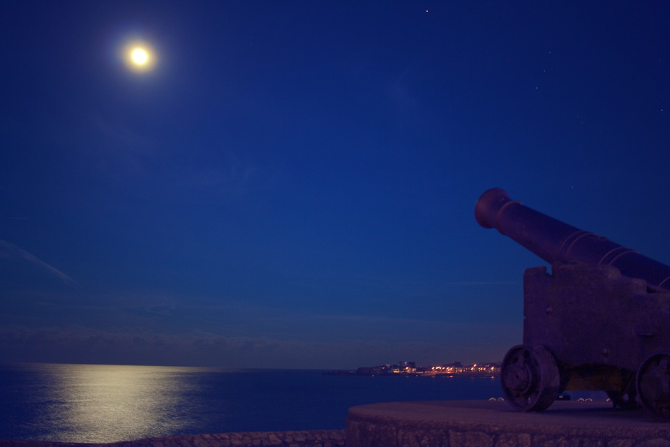 Cannon, Moon, Sky, Night, Dark, Evening, Lake