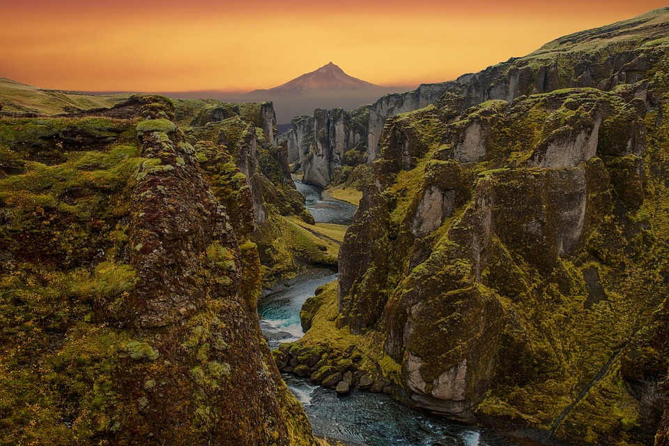 Landscape, Cannon, River, Mountain, Sky, Stone, Nature