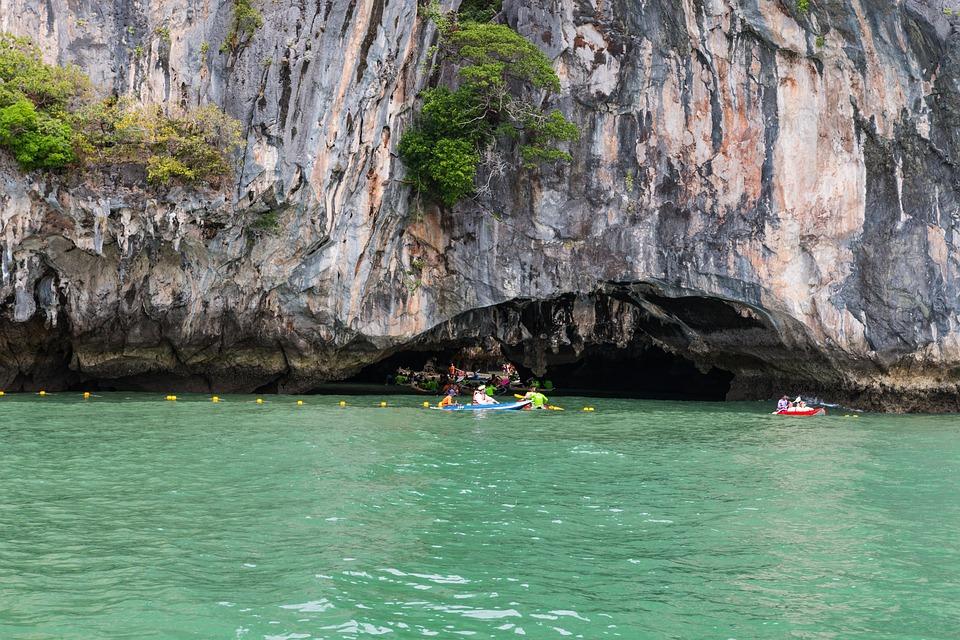 Phuket, Thailand, Cave, Sea, Blue, Water, Canoeing