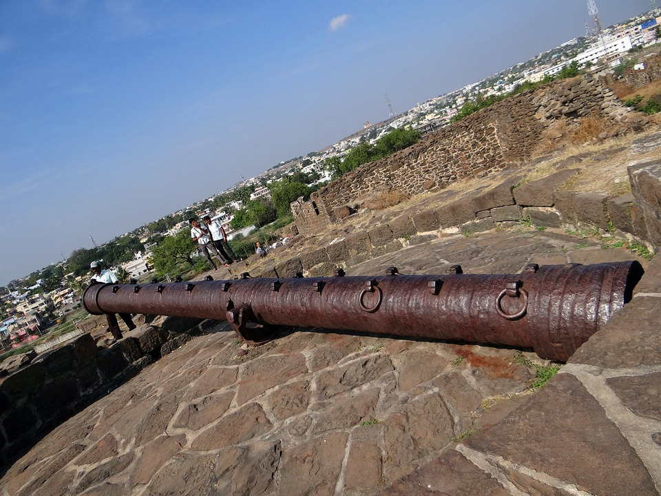 Canon, Large, Citadel, Fort, Gulbarga, Karnataka, India