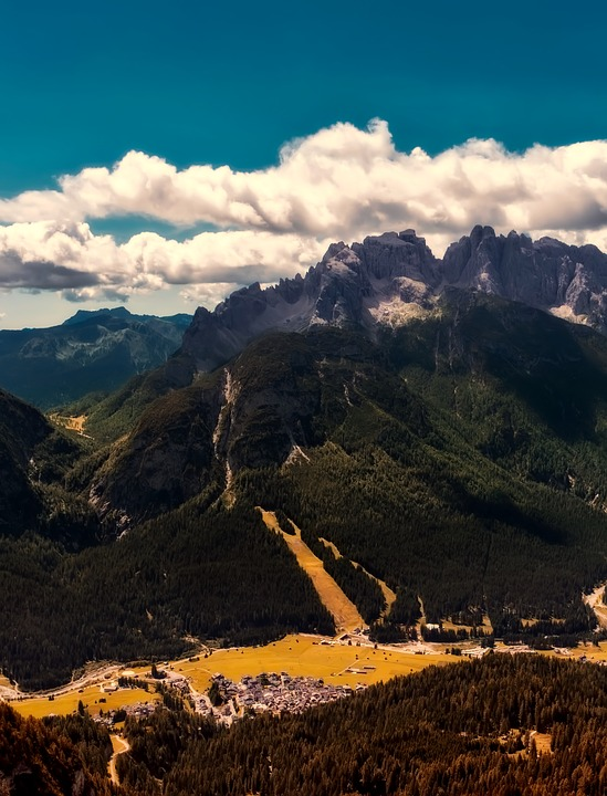 Italy, Valley, Canyon, Mountains, Sky, Clouds