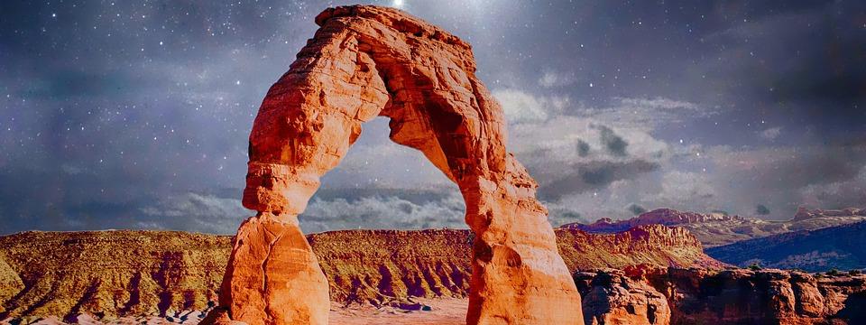 Canyon, Stars, Landscape, Sky, Nature, Night, Rock