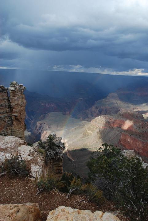 Rainbow, Grand Canyon, Rain, National Park, Canyon