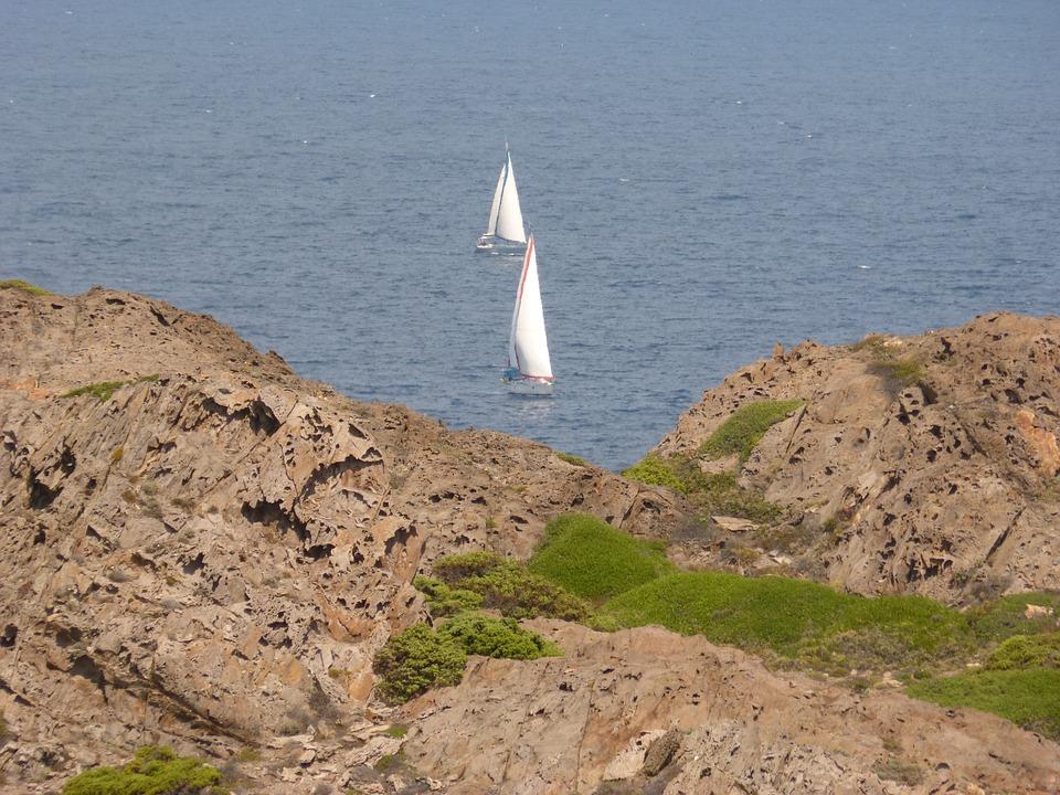 Sea, Cap De Creus, Rocks, Sailboats