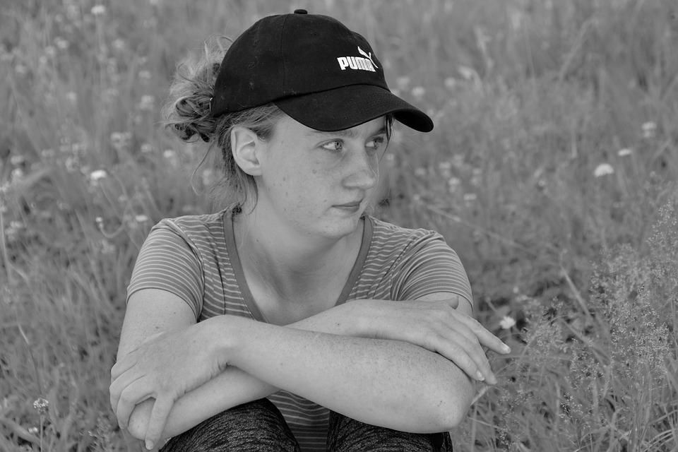 Girl, Cap, Young Girl Portrait, Black And White Photo