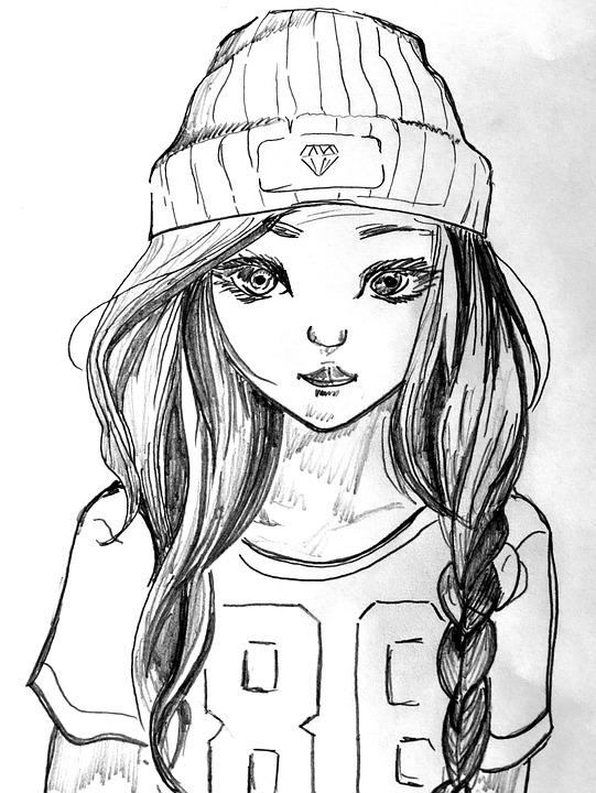 Girl, Cap, T Shirt, Drawing, Young, Long Hair