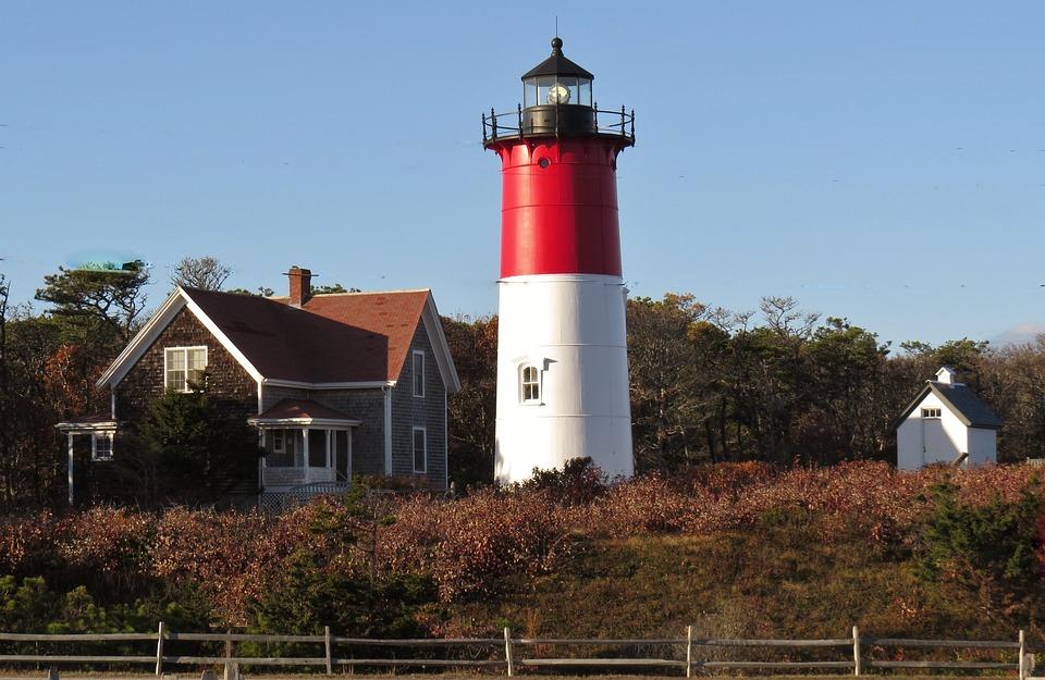 Lighthouse, Red, Ocean, Maritime, Cape Cod, Nautical