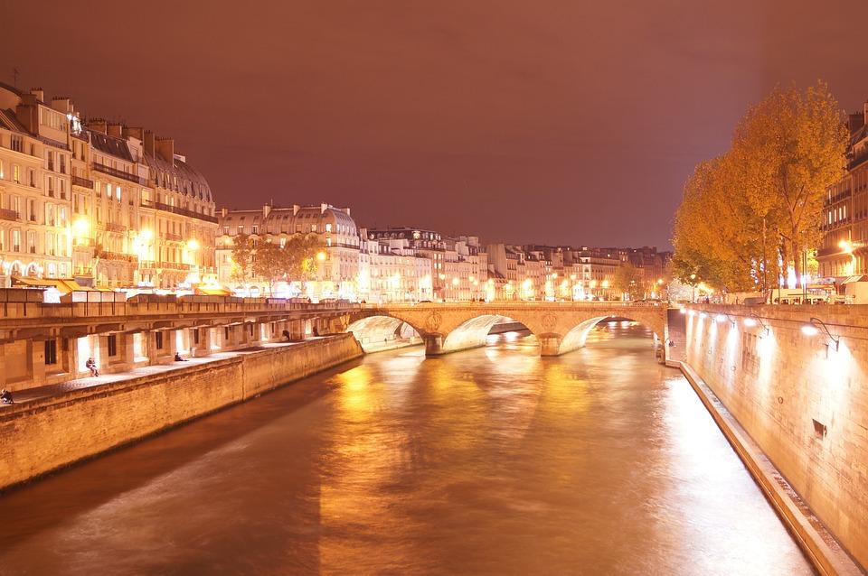 Paris, Seine, River, Bridges, City, Night, Capital