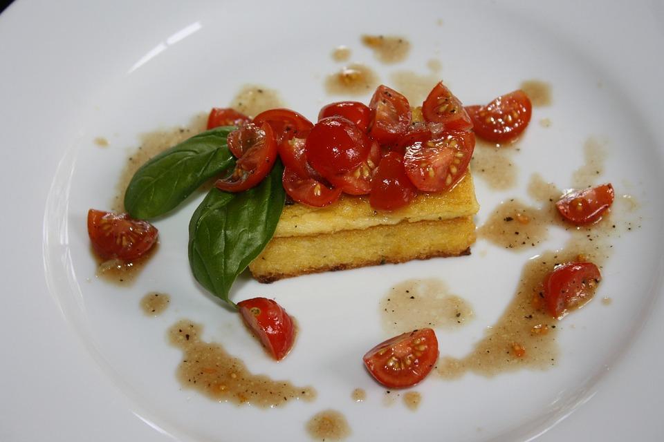 Polenta, Caprese, Salad, Appetizer, Italian, Basil