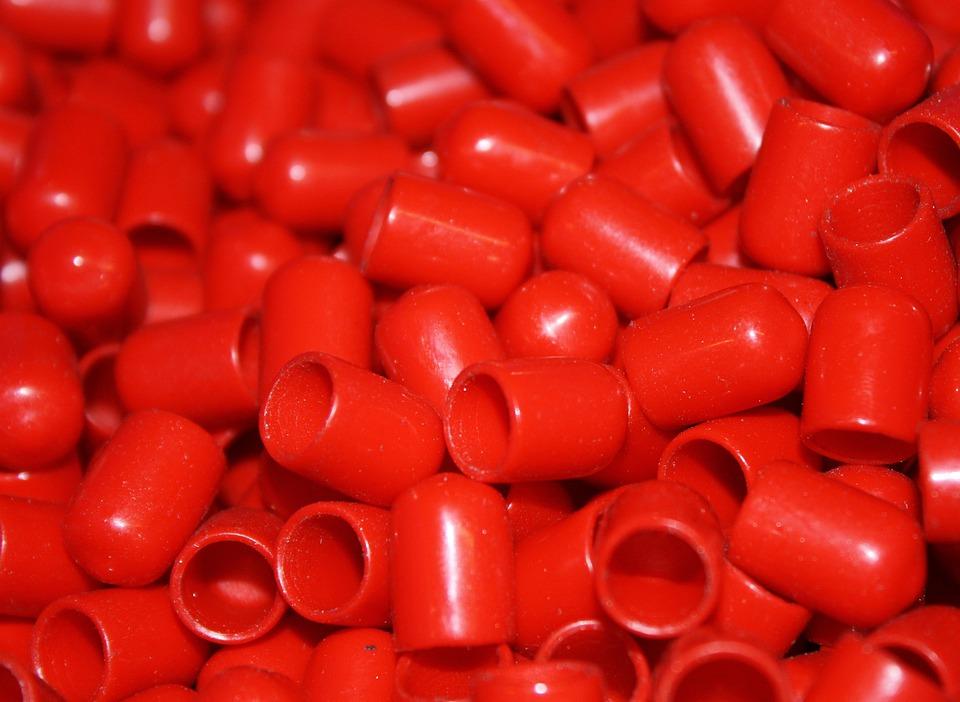 Caps, Plastic, Red
