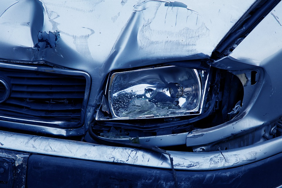 Headlamp, Accident, Auto, Blue, Broken, Car, Collision