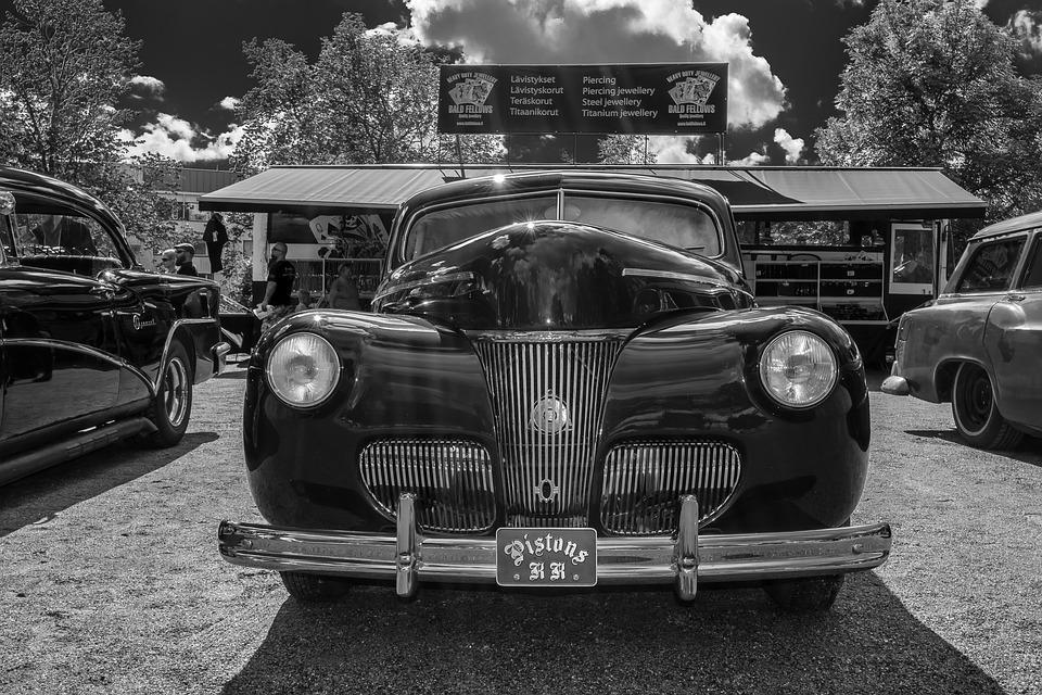 Car, Motor Show, Old, Classic, Black And White