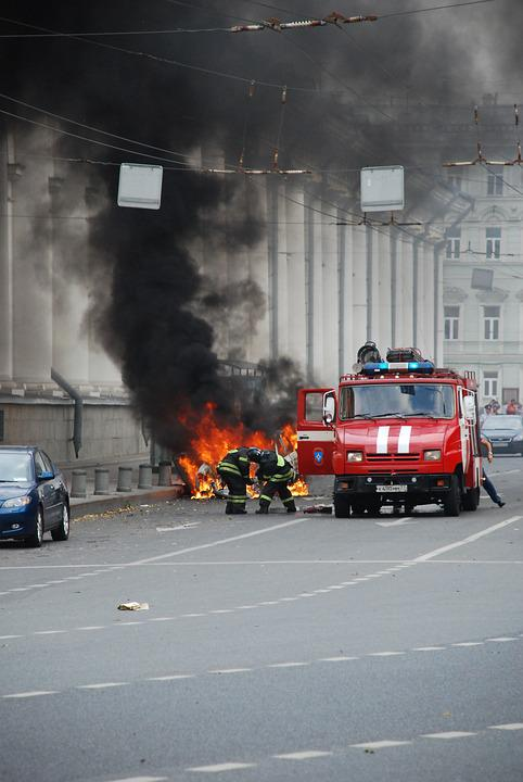 Fire, Help, Extinguishing, Car, Machine, Moscow