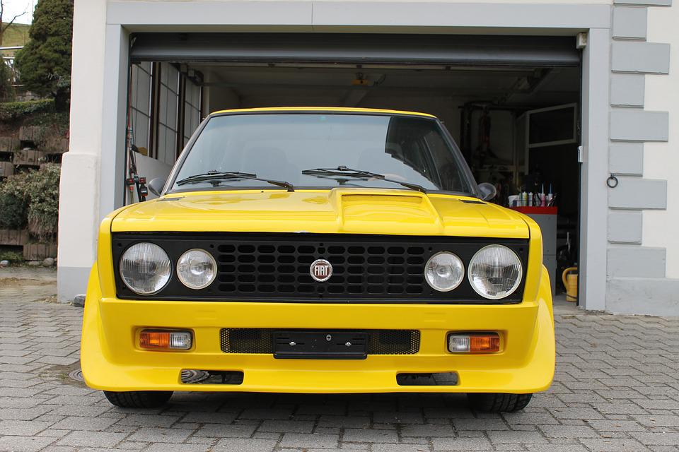Auto, Car, Yellow, Fiat, Old