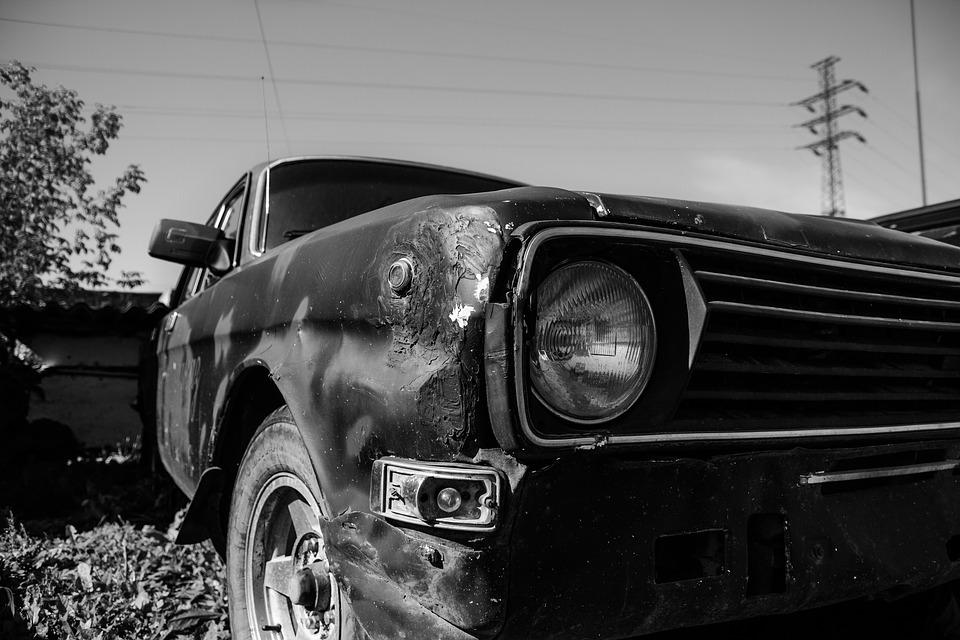 Headlight, Car, Black And White, Lada, Old, Rusty