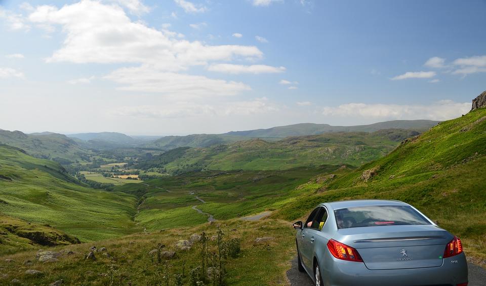Mountain, The Lake District, Run, Car, Landscape
