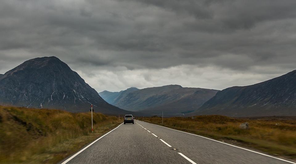 Scotland, Glencoe, Nature, Path, Car, Mountains