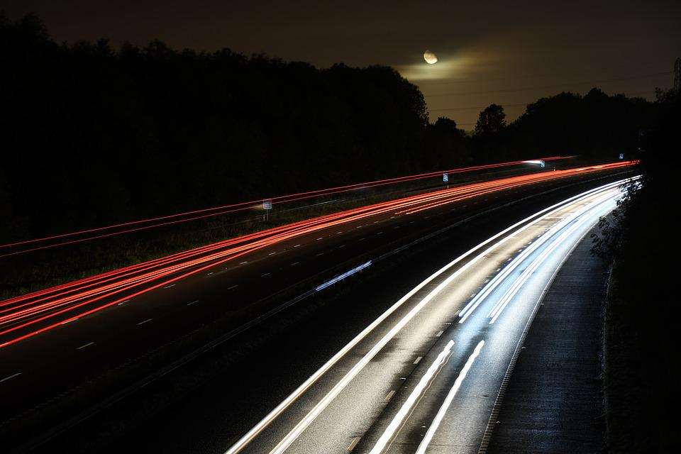 Night, Motorway, England, United Kingdom, Car, Road