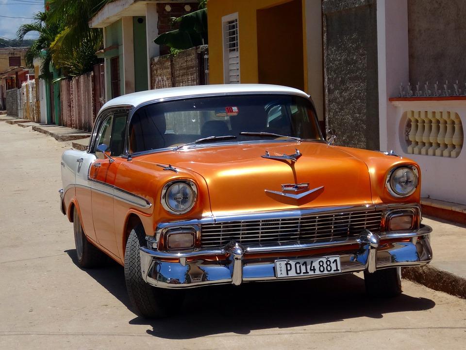 Car, Retro, Orange, Cuba