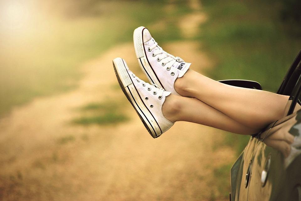 Shoes, Legs, Car, Car Window, Woman, Girl, Female