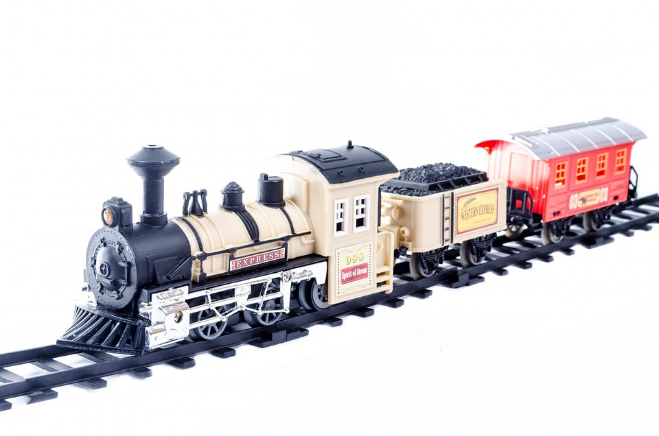 Toy, Train, Car, Isolated, Electric, Red, Horizontal