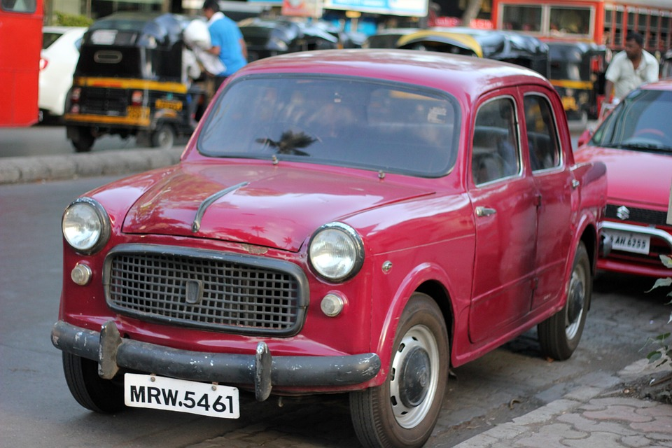 Car, Vintage, Old, India, Mumbai, Travel