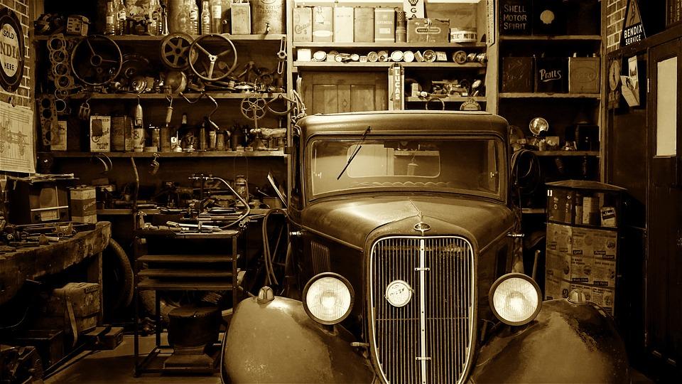 Auto, Car, Garage, Auto Shop, Vintage, Vehicle, Antique