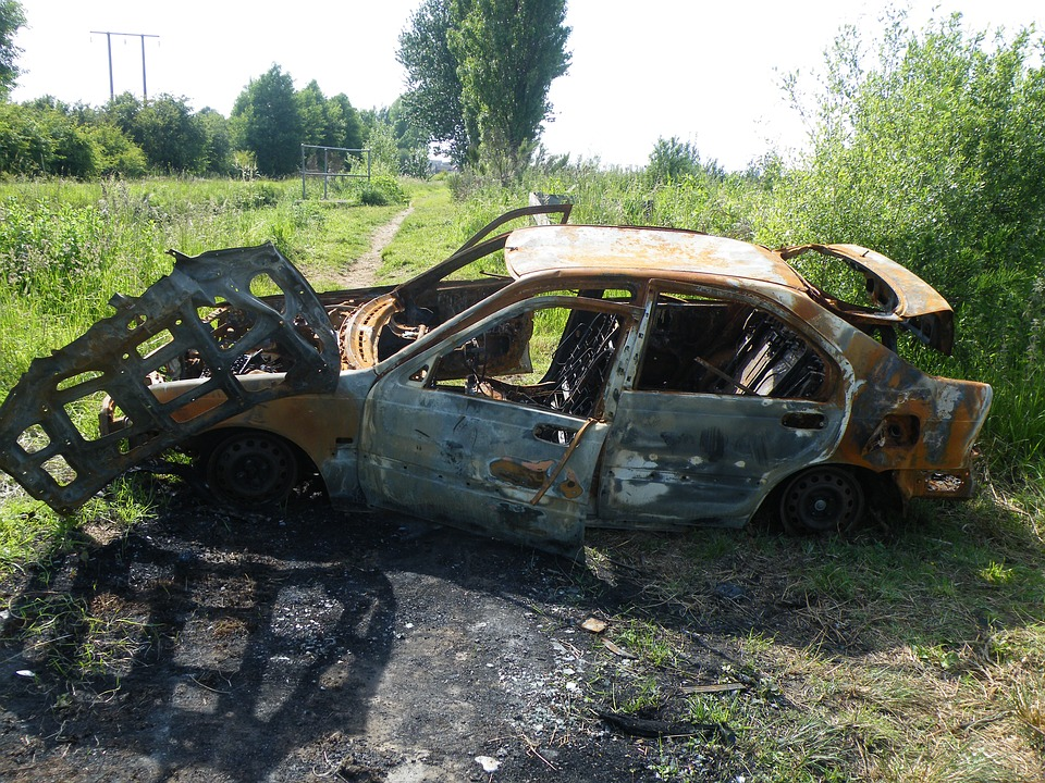 Burnt, Car, Vandalism, Vehicle, Wreck, Automobile