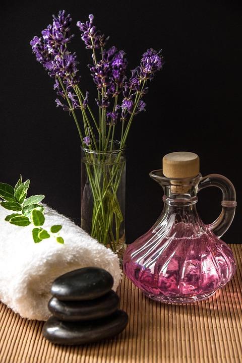 Wellness, Carafe, Purple, Towel, Rolled, Herbs, Bamboo