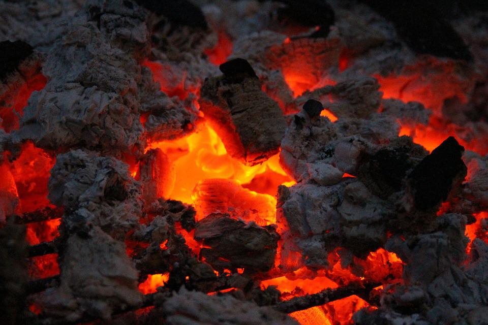 Fire, Embers, Wood, Carbon, Hot, Grill Shell
