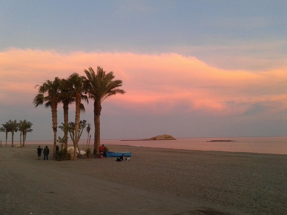 Carboneras, Almeria, Sunset, Beach, Backlight, Clouds