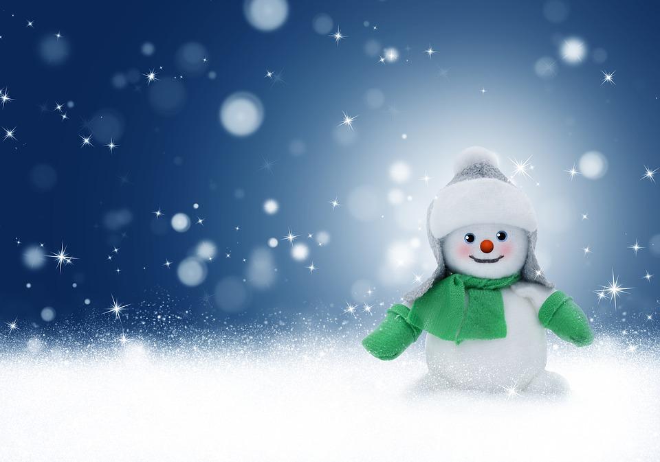 Snowman, Snow, Winter, Christmas, Background, Card