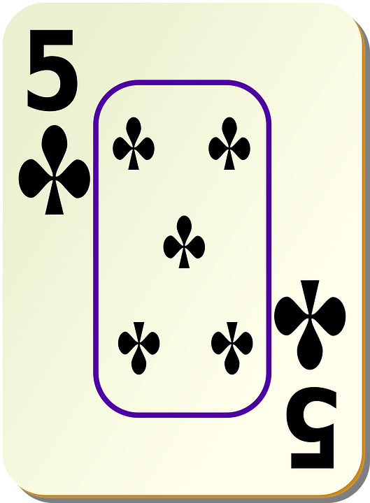 Clubs, Five, 5, Card, Games, Cards, Bordered, Border