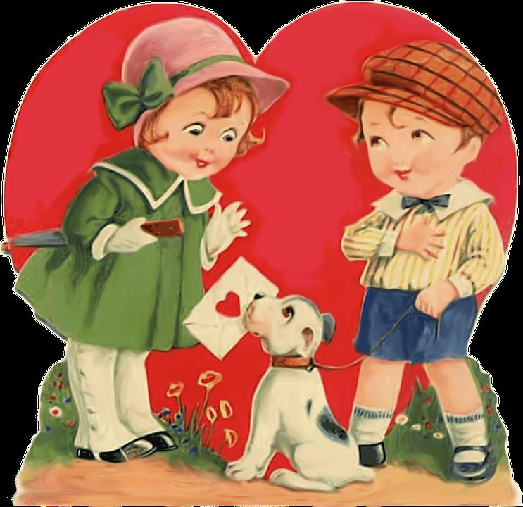 Children, Boy, Girl, Kid, Puppy, Card, Love, Heart