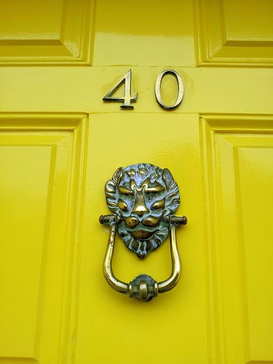 Caller, Number, 40, Forty, Happy Birthday, Card, Door