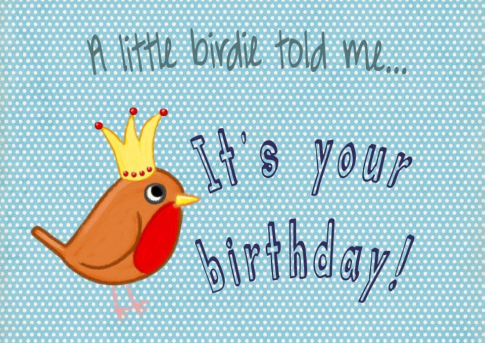 Free Photo Card Modern Birthday Fun Blue Design Bird Max Pixel