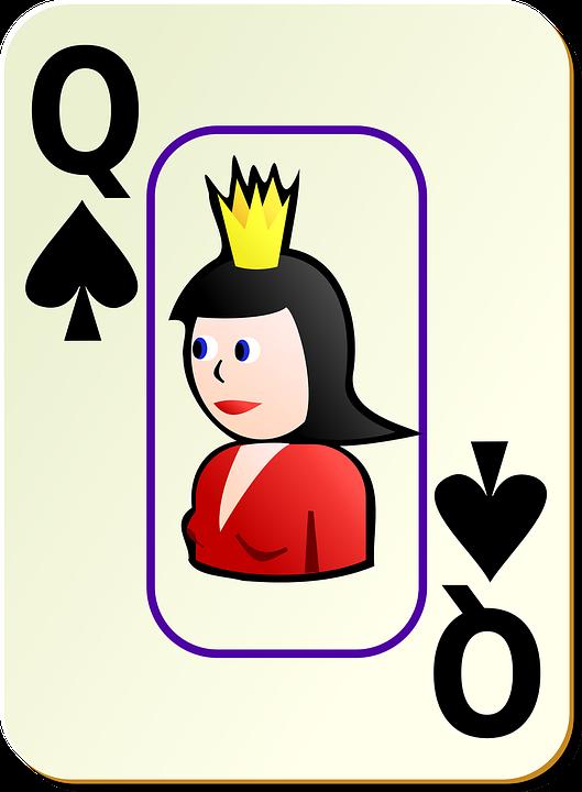Queen, Spades, Card, Recreation, Games, Cards, Bordered