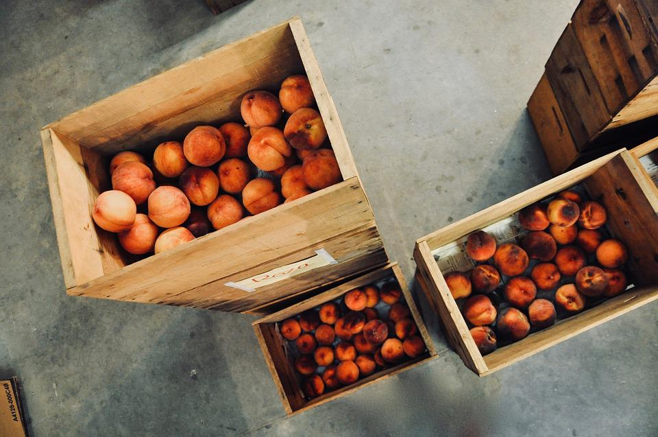 Peach, Wooden Boxes, Fruit, Cardboard, Box, Storage