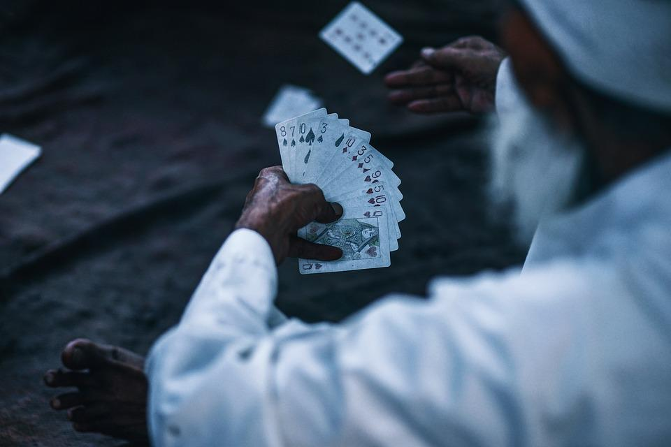 Adult, Asia, Cards, Fun, Game, Ground, India, Man